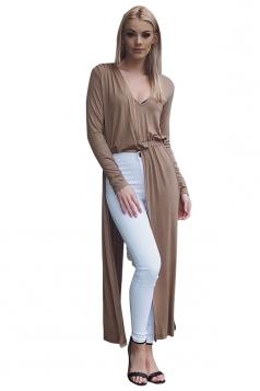 Womens Sexy V-Neck Slit Long Sleeve Maxi Length Plain Blouse Khaki
