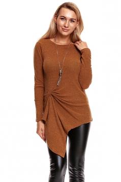 Womens Knotted Tie Long Sleeve Asymmetrical Hem Plain Blouse Camel