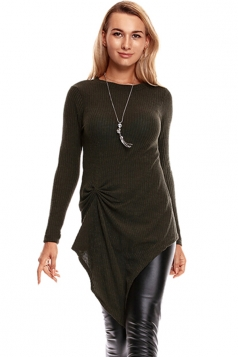 Womens Knotted Tie Long Sleeve Asymmetrical Hem Plain Blouse Coffee