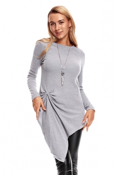 Womens Knotted Tie Long Sleeve Asymmetrical Hem Plain Blouse Gray