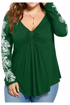 Womens Plus Size V-Neck Bandage Long Sleeve Flower Printed Top Green