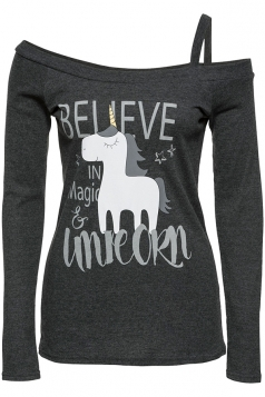 Womens Sexy One Shoulder Long Sleeve Unicorn Printed T-Shirt Dark Gray