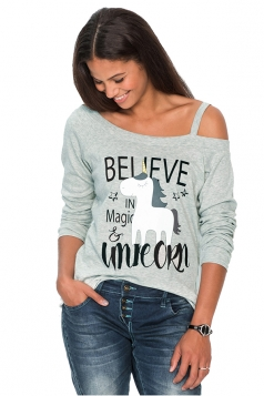 Women Sexy One Shoulder Long Sleeve Unicorn Printed T-Shirt Light Gray
