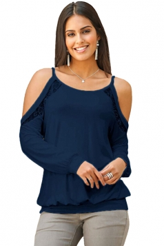Womens Sexy Cold Shoulder Long Sleeve Lace Plain Camisole Top Blue