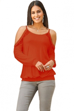 Womens Cold Shoulder Long Sleeve Lace Plain Camisole Top Orange Red