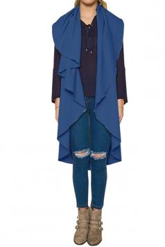 Womens Turndown Collar Ruffle Sleeveless Plain Vest Blue