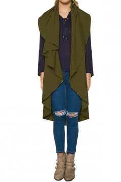 Womens Turndown Collar Ruffle Sleeveless Plain Vest Green