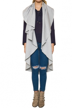 Womens Turndown Collar Ruffle Sleeveless Plain Vest Gray