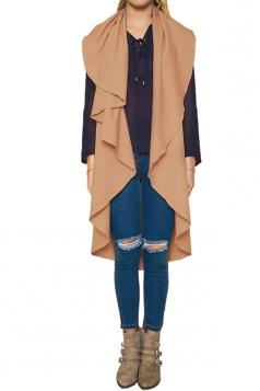 Womens Turndown Collar Ruffle Sleeveless Plain Vest Khaki