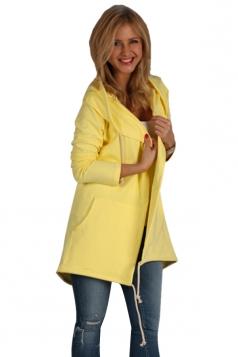 Womens Casual Drawstring Slant Pockets Hooded Plain Wool Coat Yellow