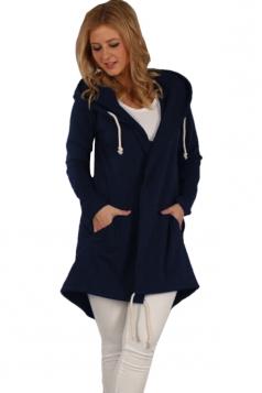 Womens Drawstring Slant Pockets Hooded Plain Wool Coat Navy Blue