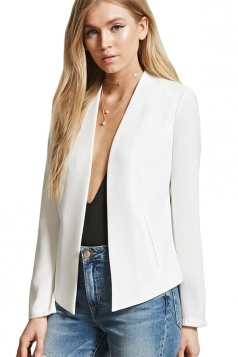 Womens Trendy Long Sleeve Shoulder Pads Plain Blazer White