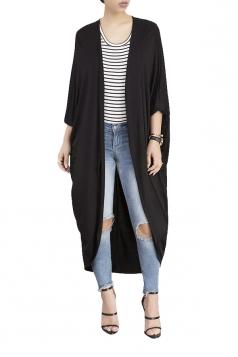 Womens Long Sleeve Asymmetrical Hem Maxi Plain Cardigan Black