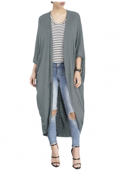 Womens Long Sleeve Asymmetrical Hem Maxi Plain Cardigan Gray