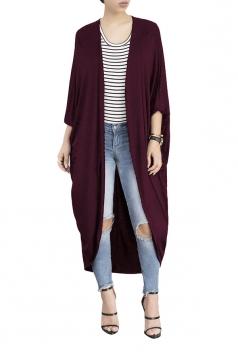 Womens Long Sleeve Asymmetrical Hem Maxi Plain Cardigan Ruby