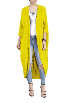 Womens Long Sleeve Asymmetrical Hem Maxi Plain Cardigan Yellow