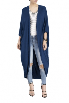 Womens Long Sleeve Asymmetrical Hem Maxi Plain Cardigan Navy Blue
