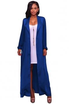 Womens Long Sleeve Turndown Collar Belt Maxi Plain Trench Coat Blue