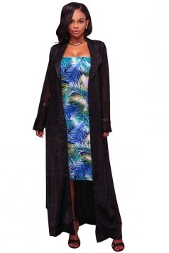 Womens Long Sleeve Turndown Collar Belt Maxi Plain Trench Coat Black