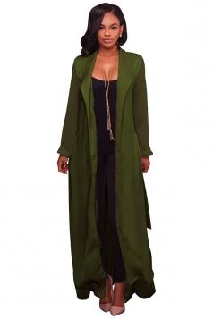Womens Long Sleeve Turndown Collar Belt Maxi Plain Trench Coat Green