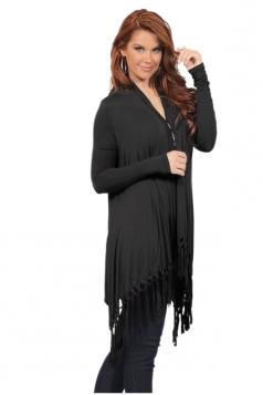 Womens Oversized Asymmetrical Hem Tassel Plain Cardigan Black