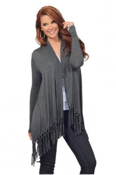 Womens Oversized Asymmetrical Hem Tassel Plain Cardigan Dark Gray