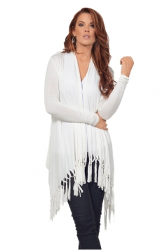 Womens Oversized Asymmetrical Hem Tassel Plain Cardigan White