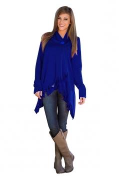 Womens Casual Asymmetrical Hem Button Tassel Plain Poncho Blue