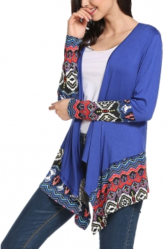 Womens Long Sleeve Asymmetrical Hem Floral Pattern Trench Coat Blue