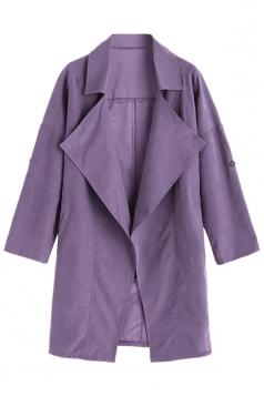Womens Turndown Collar Pockets Buttons Plain Trench Coat Dark Purple
