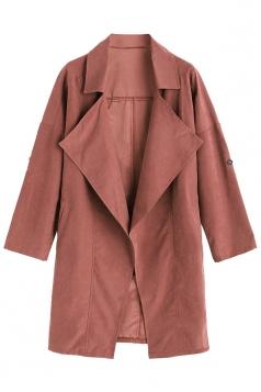 Womens Turndown Collar Pockets Buttons Plain Trench Coat Dark Red