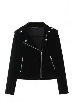 Womens Trendy Turndown Collar Zipper Studded Short Biker Jacket Black