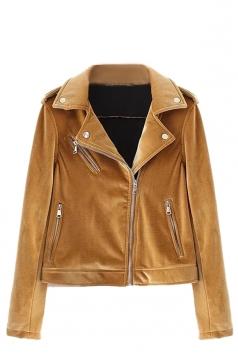 Womens Trendy Turndown Collar Zipper Studded Short Biker Jacket Ginger