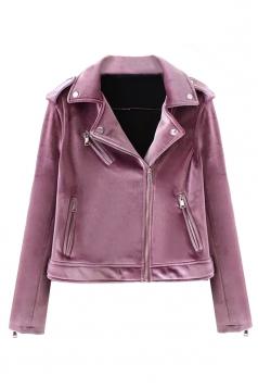 Womens Trendy Turndown Collar Zipper Studded Short Biker Jacket Purple