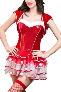 Womens Sexy Cosplay Dance Dress Christmas Santa Costume Red