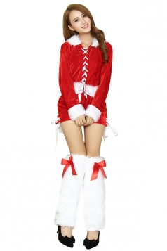 Womens Long Sleeve Fur Belt Cross Lace Up Santa Christmas Costume Red