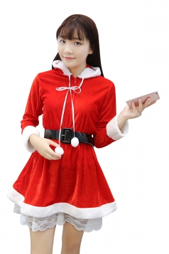 Cute Girl Hooded Long Sleeve Lace Dress Christmas Santa Costume Red