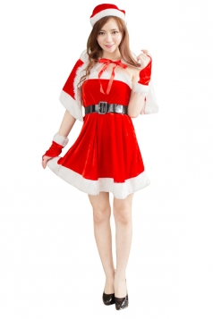 Red Off Shoulder With Tippet Waistbelt Dress Christmas Santa Costume