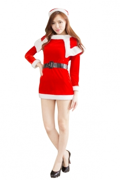 Womens Long Sleeve Cosplay Dress Santa Claus Christmas Costume Red