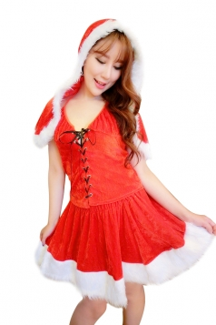 Womens Sexy Cross Lace Up Hooded Dress Santa Christmas Costume Red