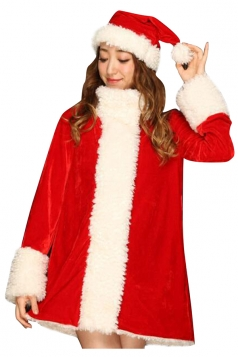 Womens High Collar Fur Long Sleeve Hat Christmas Santa Costume Red