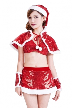 Womens Sexy Sequin Cape Crop Top Christmas Santa Costume Red