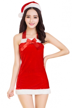 Womens Sexy Off Shoulder Halter Backless Christmas Santa Costume Red