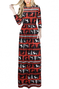 Womens Long Sleeve Reindeer Printed Maxi Christmas Dress Coral
