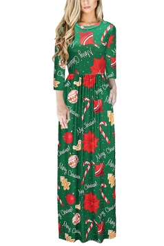 Long Sleeve Tree Gifts Printed Maxi Christmas Dress Emerald Green