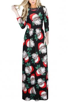 Long Sleeve Santa Claus Printed Maxi Christmas Dress Oliver Green