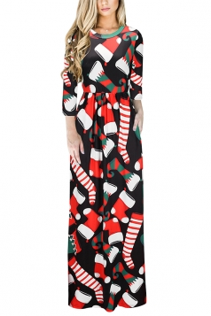 Womens Long Sleeve Stockings Printed Maxi Christmas Dress Orange
