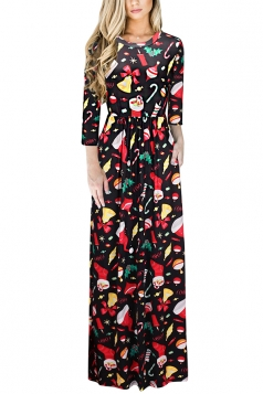 Womens Long Sleeve Santa Tree Gifts Printed Maxi Christmas Dress Ruby