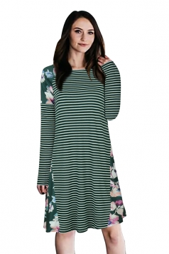 Crew Neck Floral Printed Stripe Long Sleeve Smock Dress Green