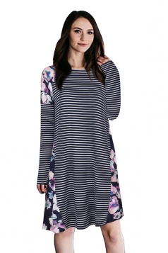 Crew Neck Floral Printed Stripe Long Sleeve Smock Dress Navy Blue